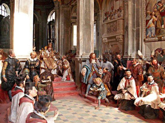 """Il romantico """"Borgo Ventoso""""- Sacro Monte di Orta-Cappella-Statue-affreschi-San Francesco-Interno"""