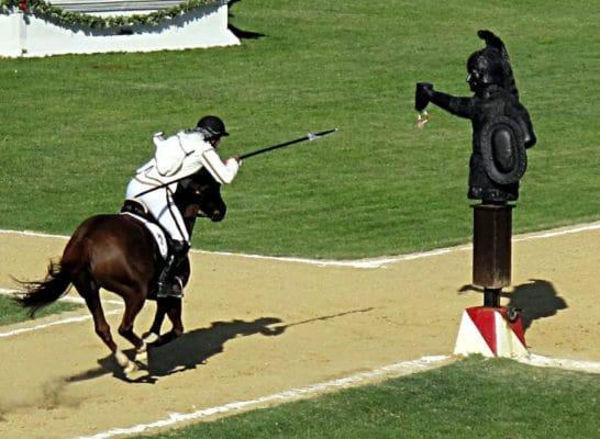 Giostra della Quintana-Cavallo-Cavaliere-fantoccio-anello-Lancia