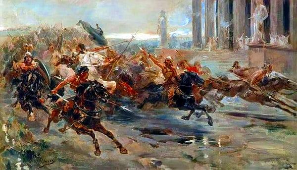La Leggenda di Attila ad Aquileia- Ulpiano Checa- La invasion de los barbaros- quadro-