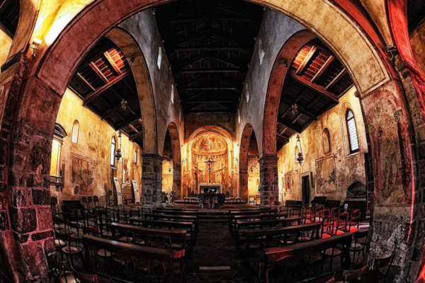 Chiesa di Santa Maria di Castello- Interno- Affreschi-Fisheye-