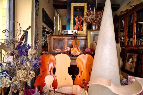Bottega di un liutaio-vetrina- violini-cornici