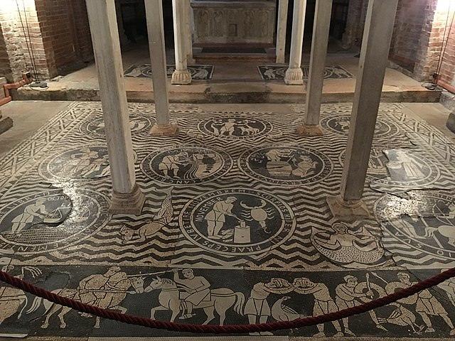 Cosa vedere a Piacenza- Cripta- Mosaico Pavimentale- Mesi- Zodiaco