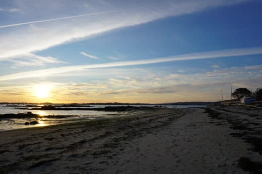Oceano-Spiaggia-Tramonto-Cielo-Blu-