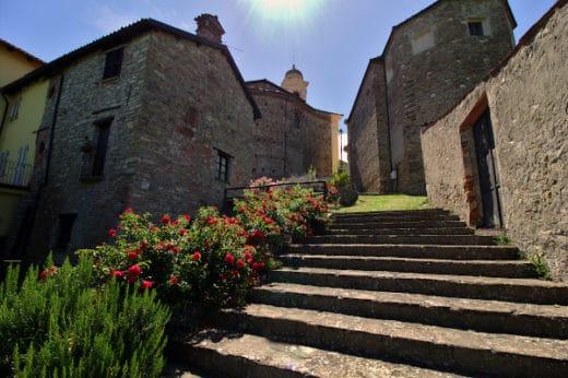 Cosa vedere a Mombaldone-Scalinata-fiori-chiesa