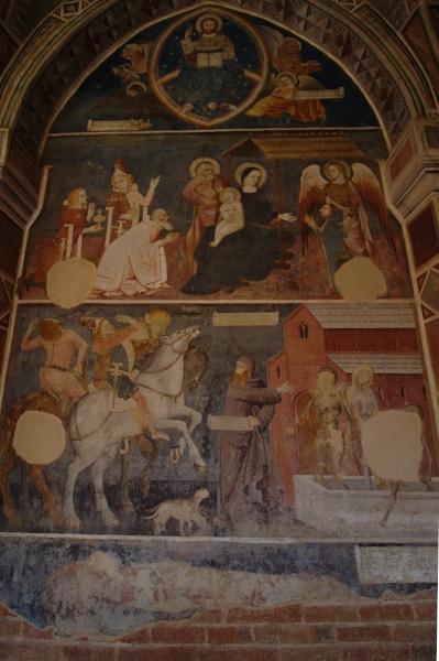 Visita all'Abbazia di Vezzolano-Affresco-Adorazione dei Magi-Maestro di Montiglio-Contrasto dei tre vivi e dei tre morti-Affresco medievale-chiostro